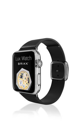 Medium brikk silver platinum diamond encrusted deluxe 42mm watch