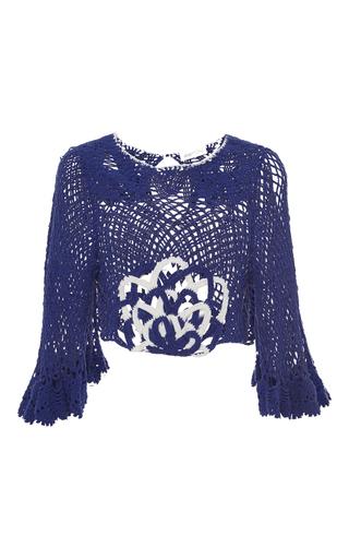 Medium alice mccall blue blue sky mine cotton crochet ruffle sleeved top