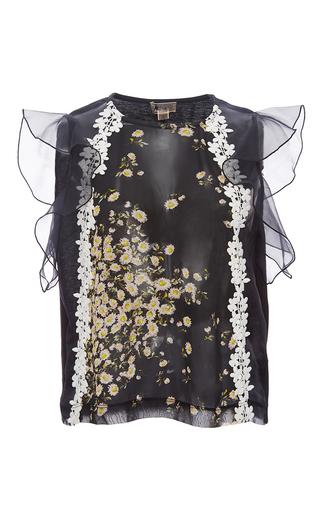 Medium giambattista valli black sleeveless daisy georgette top