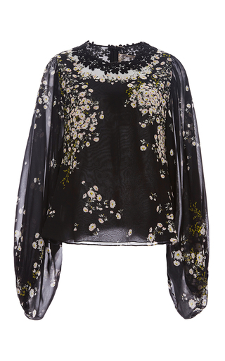 Medium giambattista valli black silk floral georgette blouse with lace detail