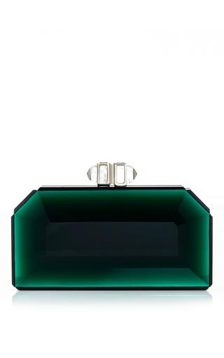 Medium judith leiber green green faceted rectangle speccio clutch