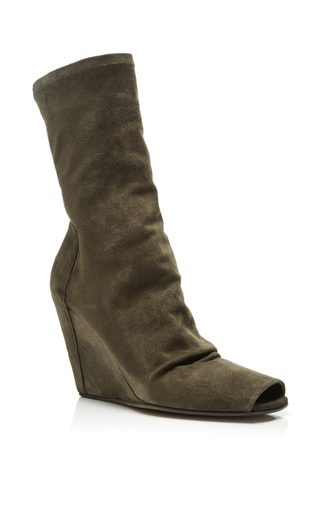 Green Suede Wedge Ankle Boots With Open Toe by RICK OWENS Now Available on Moda Operandi