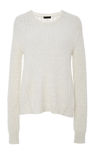 Cable Knit Crew Neck Long Sleeve Sweater by ATM Now Available on Moda Operandi