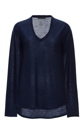 Navy Cashmere Raw Edged Sweater by ATM Now Available on Moda Operandi