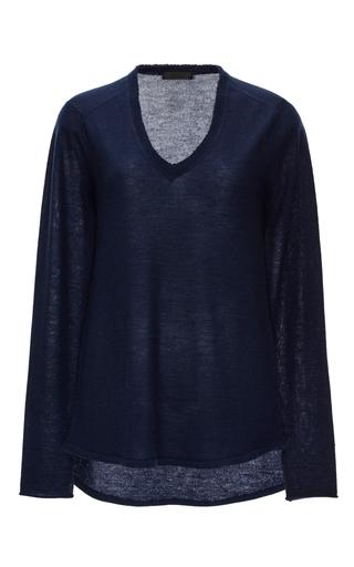 Medium atm navy navy cashmere raw edged sweater