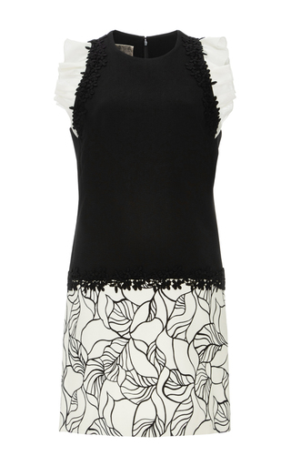 Sleeveless Mini Shift Dress With Ruffled Shoulders by GIAMBATTISTA VALLI Now Available on Moda Operandi