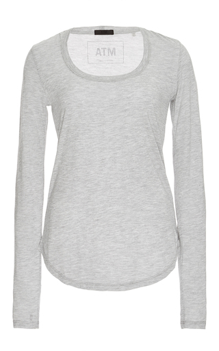 Medium atm light grey grey long sleeved scoop neck sweetheart shirt