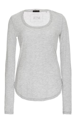 Medium atm light grey grey long sleeved scoop neck sweetheart shirt