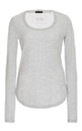Grey Long Sleeved Scoop Neck Sweetheart Shirt by ATM Now Available on Moda Operandi