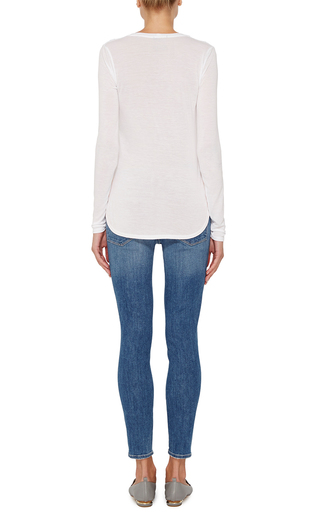White Long Sleeved Scoop Neck Sweetheart Shirt by ATM Now Available on Moda Operandi
