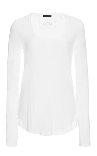 Medium atm white white long sleeved scoop neck sweetheart shirt