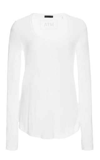 Medium atm white white long sleeved scoop neck sweetheart shirt