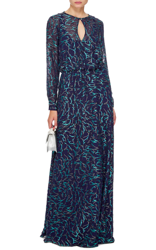 Silk Blend Embroidered Navy Long Sleeved Gown  by PRABAL GURUNG Now Available on Moda Operandi