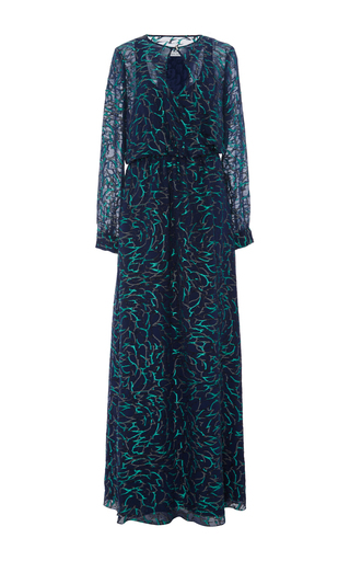 Medium prabal gurung navy silk blend embroidered navy long sleeved gown