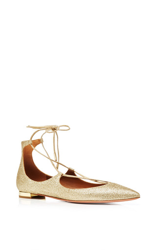 Christy Sparkle Lace Up Pointed Toe Flat by AQUAZZURA Now Available on Moda Operandi