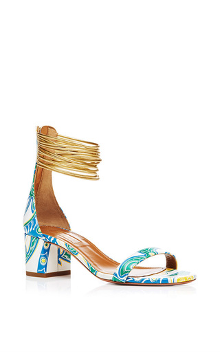 Spin Me Around Printed Sandals With Ankle Strap by AQUAZZURA Now Available on Moda Operandi