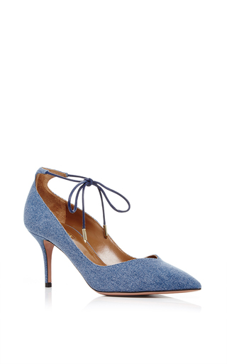 Allure Denim Kitten Heels With Ankle Tie by AQUAZZURA Now Available on Moda Operandi