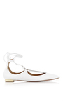 Christy Calf Leather Lace Up Flats by AQUAZZURA Now Available on Moda Operandi