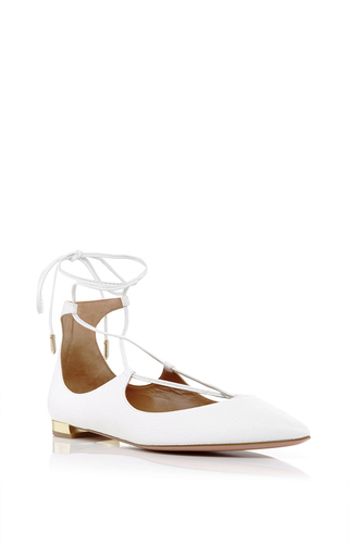 Medium aquazzura white christy calf leather lace up flats