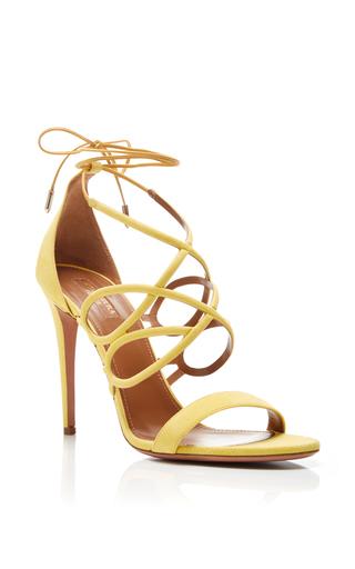 Medium aquazzura yellow gigi yellow suede heeled sandals