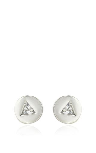 Medium eddie borgo silver crystal triangle stud silver