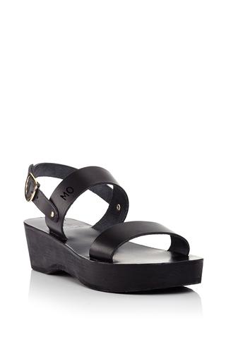 Medium ancient greek sandals black dinami sabot sandals in black vachetta