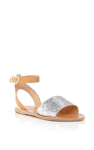 Medium ancient greek sandals silver thalpori sandals in glitter vachetta