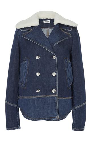 Medium sonia by sonia rykiel dark wash faux fur collar denim jacket