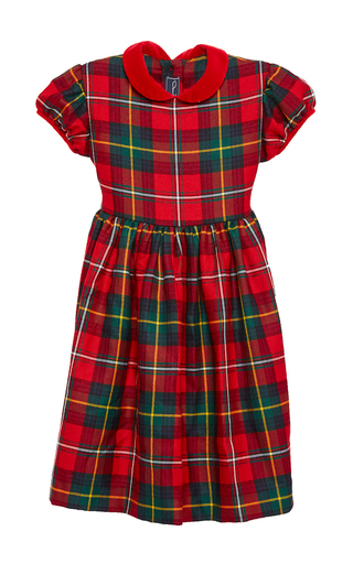 Medium oscar de la renta plaid holiday plaid wool gathered sleeve dress