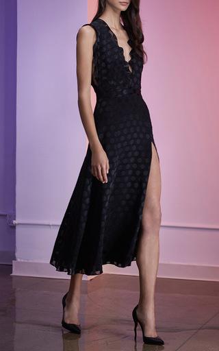 Satin Dot V Neck Dress by CUSHNIE ET OCHS Now Available on Moda Operandi