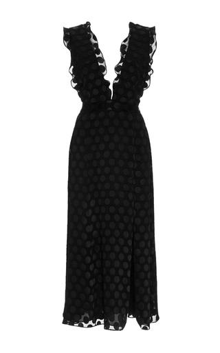 Medium cushnie et ochs black satin dot v neck dress
