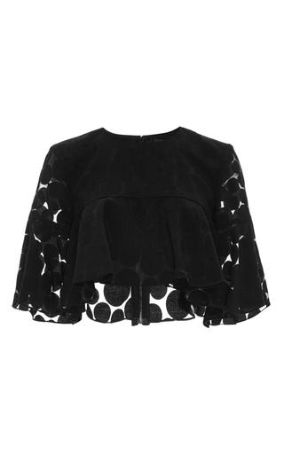 Medium cushnie et ochs black organic dot cropped blouse