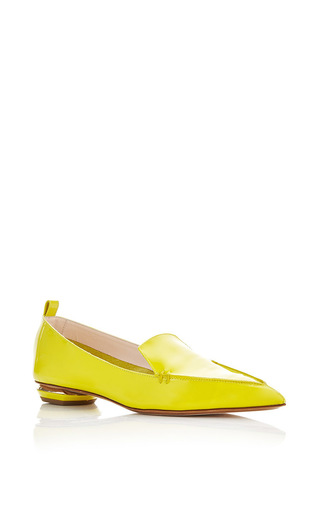 Lime Green Patent Leather Beya Loafers by NICHOLAS KIRKWOOD Now Available on Moda Operandi