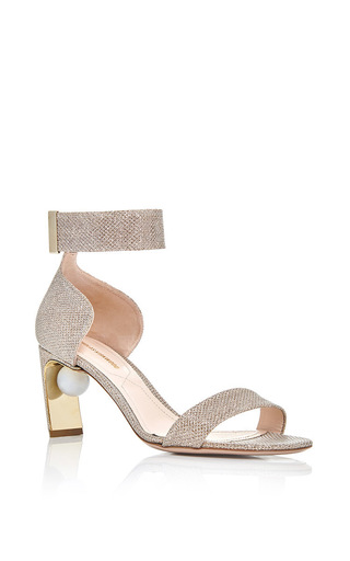 Champagne Lurex Meava Pearl Sandal by NICHOLAS KIRKWOOD Now Available on Moda Operandi