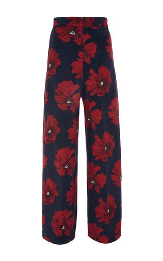 Medium lela rose navy printed poppy wide leg trouser