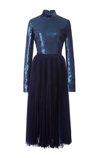 Medium sally lapointe blue stretch sequins long sleeve dress