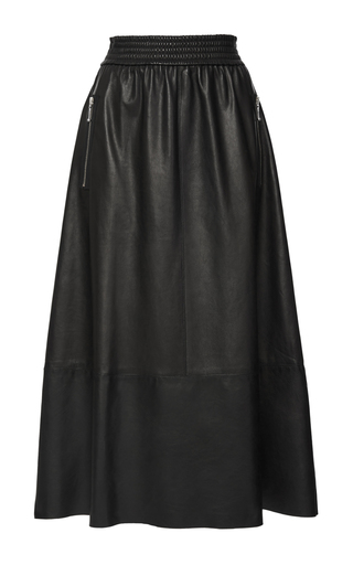Medium alexander wang black leather a line midi skirt