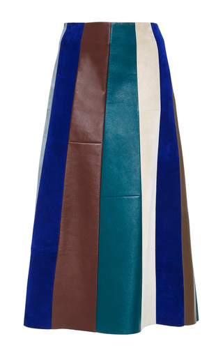 Medium derek lam blue suede patchwork a line skirt