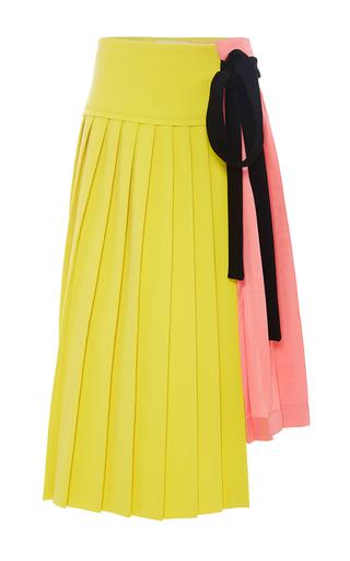 Medium marni pink pleated colorblock wraparound skirt