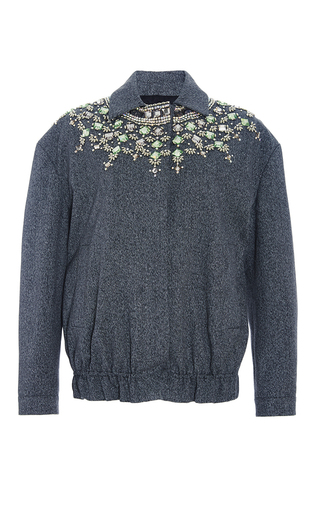 Medium marni dark grey jewel embellished bomber jacket
