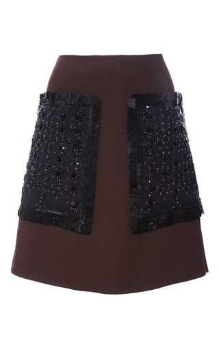 Medium marni brown embroidered wool mini skirt