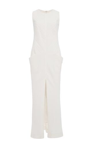 Medium wes gordon white channeled crepe bias sleeveless dress