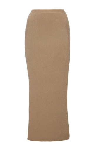 Medium wes gordon tan plated ribbed column skirt in almond