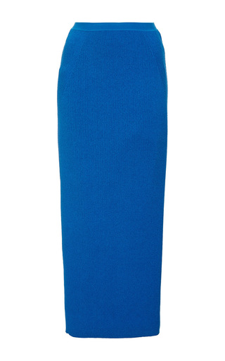 Medium wes gordon turquoise plated ribbed column skirt in adriatic blue