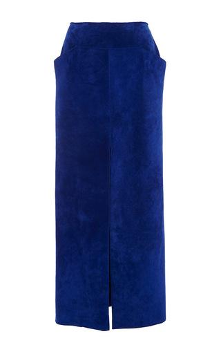 Medium wes gordon royal blue calfskin suede relaxed slit skirt