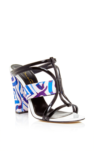 Silk And Patent Leather Lonni Sandals by OSCAR DE LA RENTA Now Available on Moda Operandi
