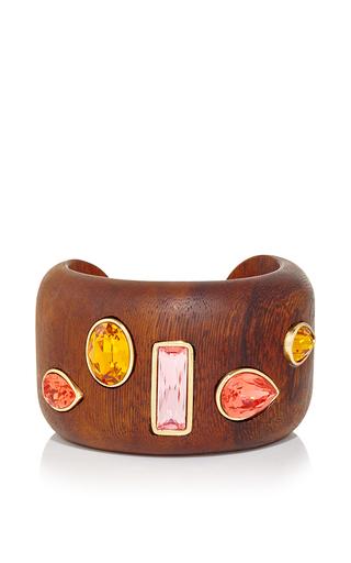 Medium oscar de la renta orange crystal wood bracelet