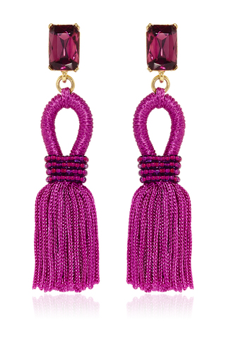 Medium oscar de la renta pink short silk loop tassel magenta earrings