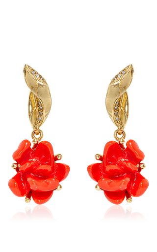 Medium oscar de la renta red resin rose earrings