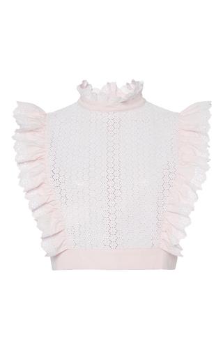 Medium philosophy di lorenzo serafini light pink pink embroidered poplin cropped top